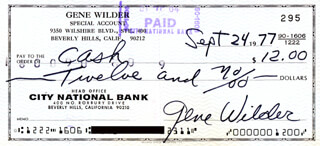 GENE WILDER - AUTOGRAPHED SIGNED CHECK 09/24/1977