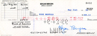 EDGAR BERGEN - AUTOGRAPHED SIGNED CHECK 05/31/1966