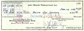 JOEY BISHOP - AUTOGRAPHED SIGNED CHECK 02/24/1967