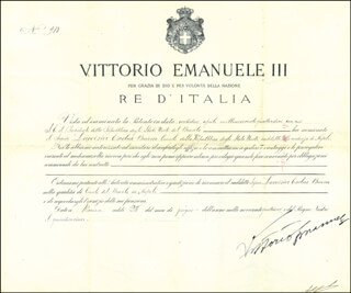 Autographs: KING VICTOR EMMANUEL III (ITALY) - CIVIL APPOINTMENT SIGNED 06/28/1914