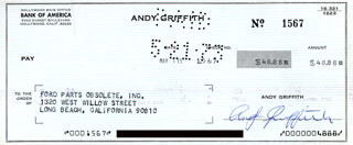 ANDY GRIFFITH - AUTOGRAPHED SIGNED CHECK 05/07/1973