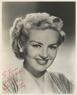 BETTY GRABLE - AUTOGRAPHED INSCRIBED PHOTOGRAPH