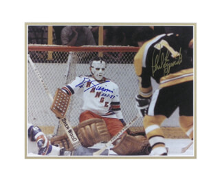 PHIL ESPOSITO - AUTOGRAPHED SIGNED PHOTOGRAPH CO-SIGNED BY: EDDIE FAST EDDIE GIACOMIN