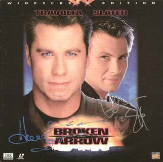 Autographs: BROKEN ARROW MOVIE CAST - LASER MEDIA COVER SIGNED CO-SIGNED BY: CHRISTIAN SLATER, JOHN TRAVOLTA