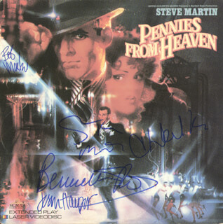 PENNIES FROM HEAVEN MOVIE CAST - LASER MEDIA COVER SIGNED CO-SIGNED BY: BOB MACKIE, CHRISTOPHER WALKEN, STEVE MARTIN, BERNADETTE PETERS, JESSICA HARPER