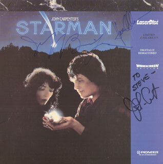 STARMAN MOVIE CAST - LASER MEDIA COVER SIGNED CO-SIGNED BY: JEFF BRIDGES, KAREN ALLEN, JOHN CARPENTER