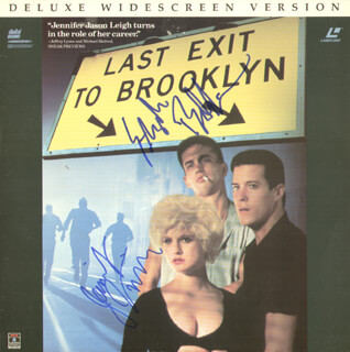 LAST EXIT TO BROOKLYN - LASER MEDIA COVER SIGNED CO-SIGNED BY: BURT YOUNG, JENNIFER JASON LEIGH