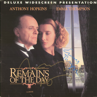 THE REMAINS OF THE DAY MOVIE CAST - LASER MEDIA COVER SIGNED CO-SIGNED BY: EMMA THOMPSON, ANTHONY HOPKINS
