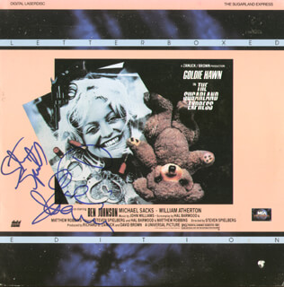 SUGARLAND EXPRESS MOVIE CAST - LASER MEDIA COVER SIGNED CO-SIGNED BY: STEVEN SPIELBERG, GOLDIE HAWN