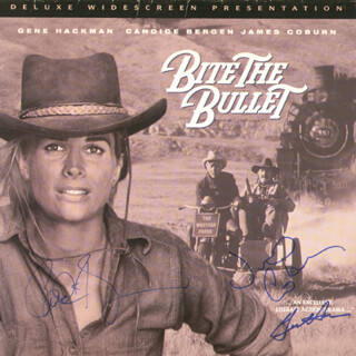 Autographs: BITE THE BULLET MOVIE CAST - LASER MEDIA COVER SIGNED CO-SIGNED BY: CANDICE BERGEN, GENE HACKMAN, JAMES COBURN