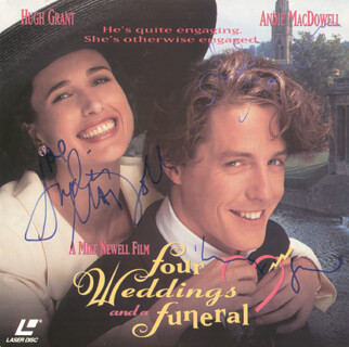 FOUR WEDDINGS AND A FUNERAL MOVIE CAST - LASER MEDIA COVER SIGNED CO-SIGNED BY: ANDIE MacDOWELL, HUGH GRANT