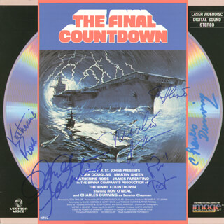 Autographs: FINAL COUNTDOWN MOVIE CAST - LASER MEDIA COVER SIGNED CO-SIGNED BY: JAMES FARENTINO, MARTIN SHEEN, CHARLES DURNING, KIRK DOUGLAS, KATHARINE ROSS