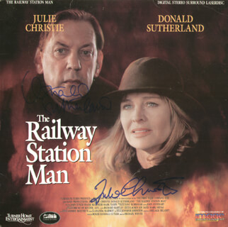 RAILWAY STATION MAN MOVIE CAST - LASER MEDIA COVER SIGNED CO-SIGNED BY: DONALD SUTHERLAND, JULIE CHRISTIE
