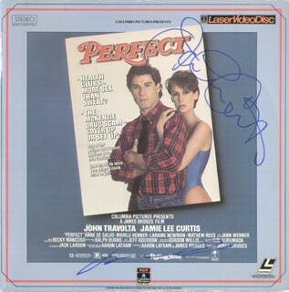 Autographs: PERFECT MOVIE CAST - LASER MEDIA COVER SIGNED CO-SIGNED BY: JAMIE LEE CURTIS, JOHN TRAVOLTA