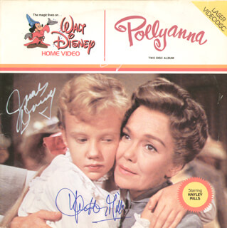POLLYANNA MOVIE CAST - LASER MEDIA COVER SIGNED CO-SIGNED BY: HAYLEY MILLS, JAMES DRURY