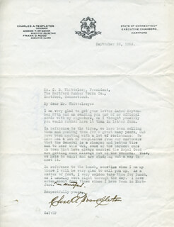 GOVERNOR CHARLES A. TEMPLETON - TYPED LETTER SIGNED 09/28/1923
