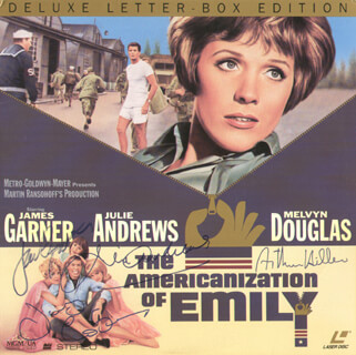 Autographs: AMERICANIZATION OF EMILY MOVIE CAST - LASER MEDIA COVER SIGNED CO-SIGNED BY: JULIE ANDREWS, JAMES GARNER, JAMES COBURN, ARTHUR HILLER
