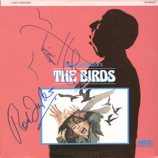 BIRDS MOVIE CAST - LASER MEDIA COVER SIGNED CO-SIGNED BY: TIPPI HEDREN, ROD TAYLOR