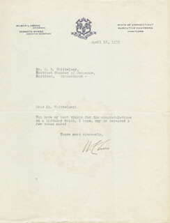 GOVERNOR WILBUR L. CROSS - TYPED LETTER SIGNED 04/12/1933