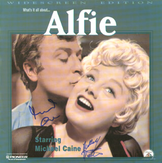 Autographs: ALFIE MOVIE CAST - LASER MEDIA COVER SIGNED CO-SIGNED BY: MICHAEL CAINE, SHELLEY WINTERS