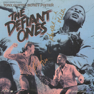 Autographs: DEFIANT ONES MOVIE CAST - LASER MEDIA COVER SIGNED CO-SIGNED BY: SIDNEY POITIER, TONY CURTIS