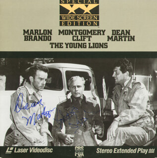 YOUNG LIONS MOVIE CAST - LASER MEDIA COVER SIGNED CO-SIGNED BY: DEAN MARTIN, BARBARA RUSH