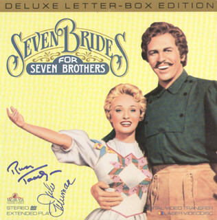SEVEN BRIDES FOR 7 BROTHERS MOVIE CAST - LASER MEDIA COVER SIGNED CO-SIGNED BY: JULIE NEWMAR, RUSS TAMBLYN