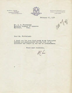 GOVERNOR WILBUR L. CROSS - TYPED LETTER SIGNED 02/27/1934