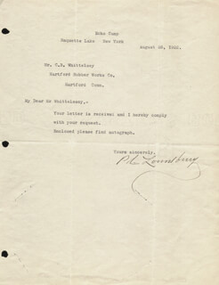 GOVERNOR PHINEAS LOUNSBURY - TYPED LETTER SIGNED 08/28/1922