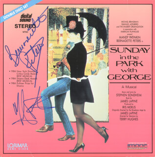 SUNDAY IN THE PARK WITH GEORGE MOVIE CAST - LASER MEDIA COVER SIGNED CO-SIGNED BY: BERNADETTE PETERS, MANDY PATINKIN