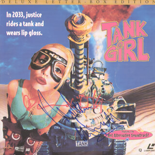 Autographs: TANK GIRL MOVIE CAST - LASER MEDIA COVER SIGNED CO-SIGNED BY: LORI PETTY, MALCOLM McDOWELL
