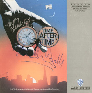 TIME AFTER TIME MOVIE CAST - LASER MEDIA COVER SIGNED CO-SIGNED BY: MALCOLM McDOWELL, MARY STEENBURGEN