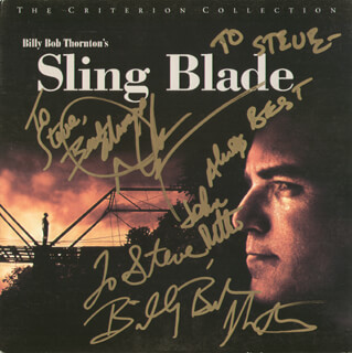 SLING BLADE MOVIE CAST - INSCRIBED LASER MEDIA COVER SIGNED CO-SIGNED BY: JOHN RITTER, BILLY BOB THORNTON, DWIGHT YOAKAM