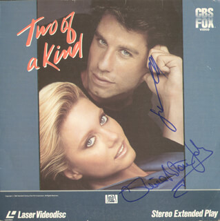 TWO OF A KIND MOVIE CAST - LASER MEDIA COVER SIGNED CO-SIGNED BY: JOHN TRAVOLTA, OLIVIA NEWTON-JOHN