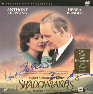 SHADOWLANDS MOVIE CAST - LASER MEDIA COVER SIGNED CO-SIGNED BY: ANTHONY HOPKINS, DEBRA WINGER