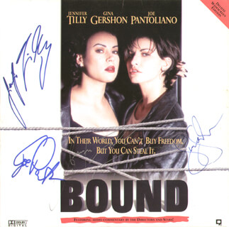 BOUND MOVIE CAST - LASER MEDIA COVER SIGNED CO-SIGNED BY: JENNIFER TILLY, JOE PANTOLIANO, GINA GERSHON