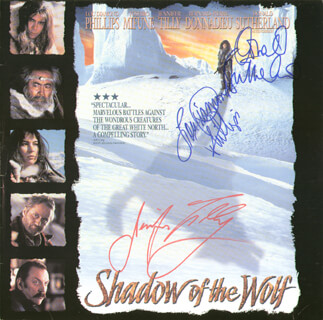 SHADOW OF THE WOLF MOVIE CAST - LASER MEDIA COVER SIGNED CO-SIGNED BY: DONALD SUTHERLAND, LOU DIAMOND PHILLIPS, JENNIFER TILLY