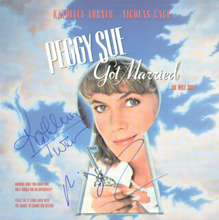 PEGGY SUE GOT MARRIED MOVIE CAST - LASER MEDIA COVER SIGNED CO-SIGNED BY: KATHLEEN TURNER, NICOLAS CAGE
