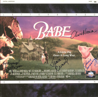 Autographs: BABE MOVIE CAST - LASER MEDIA COVER SIGNED CO-SIGNED BY: JAMES CROMWELL, CHRIS NOONAN, CHRISTINE CAVANAUGH