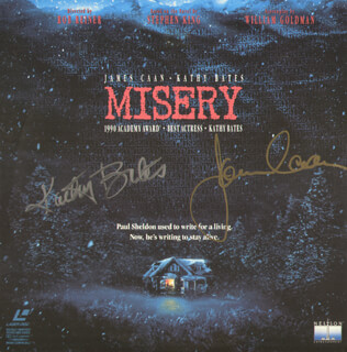 MISERY MOVIE CAST - LASER MEDIA COVER SIGNED CO-SIGNED BY: KATHY BATES, JAMES CAAN