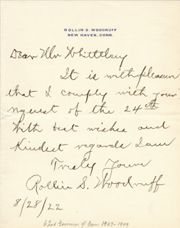 ROLLIN SIMMONS WOODRUFF - AUTOGRAPH LETTER SIGNED 08/28/1922