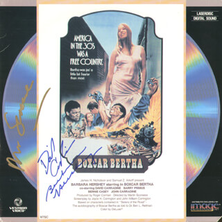 BOXCAR BERTHA MOVIE CAST - LASER MEDIA COVER SIGNED CO-SIGNED BY: MARTIN SCORSESE, BARBARA HERSHEY, DAVID CARRADINE