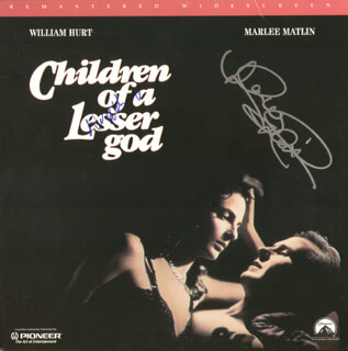 CHILDREN OF A LESSER GOD - LASER MEDIA COVER SIGNED CO-SIGNED BY: MARLEE MATLIN, WILLIAM HURT