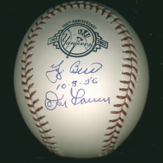 YOGI BERRA - AUTOGRAPHED SIGNED BASEBALL CO-SIGNED BY: DON LARSEN