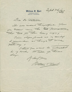 WILLIAM S. HART - AUTOGRAPH LETTER SIGNED 09/26/1936