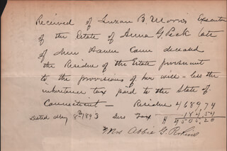LUZON B. MORRIS - THIRD PERSON AUTOGRAPH LETTER 05/08/1893
