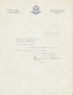Autographs: RAYMOND BALDWIN - TYPED NOTE SIGNED 06/29/1939