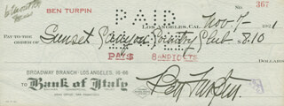 BEN TURPIN - AUTOGRAPHED SIGNED CHECK 11/07/1921