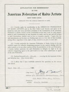 MAX BAER - DOCUMENT SIGNED 05/16/1940