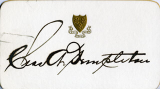 GOVERNOR CHARLES A. TEMPLETON - PRINTED CARD SIGNED IN INK